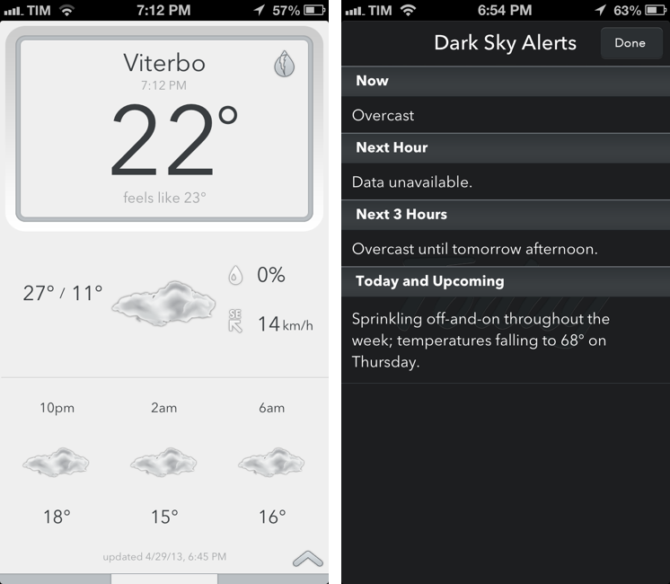 Today Weather Gets Dark Sky Alerts, Forecast.io Support
