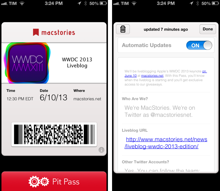 Kick Off WWDC 2013 With MacStories' Passbook Pass